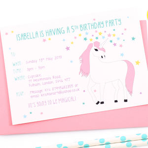 Unicorn Personalised Birthday Party Invitations - childrens party invitations
