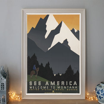 Vintage See America Montana Art Deco Travel Poster