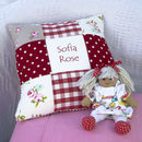 Red Patchwork Name Cushion
