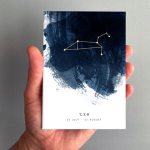Leo Constellation Zodiac Star Sign Birthday Card