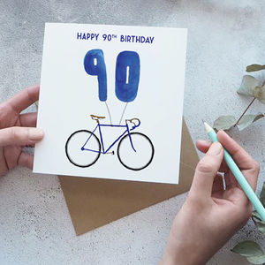 90th Birthday Bike With Balloons Card - birthday cards