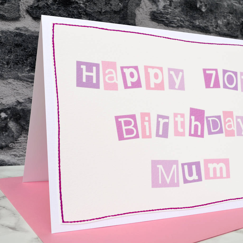 Large A5 Personalised Female 70th Birthday Card