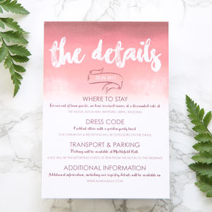 Pink / Plum Ombre Wedding Details Card