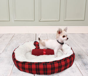 Red Checkered Dog Bed, Blanket And Bone Toy