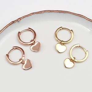 18ct Gold And Sterling Silver Heart Charm Earrings