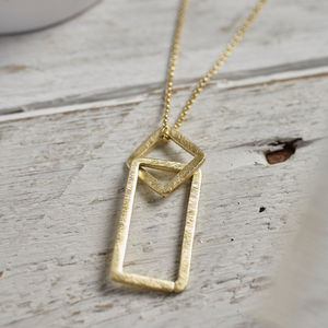 Gold Square Link Necklace