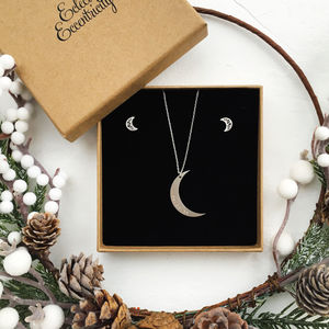 Crescent Moon Necklace And Earrings Gift Set
