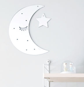 Sleepy Moon Silver Mirror Acrylic Wall Decoration - mirrors