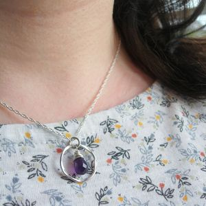 Amethyst Hammered Silver Circle Necklace