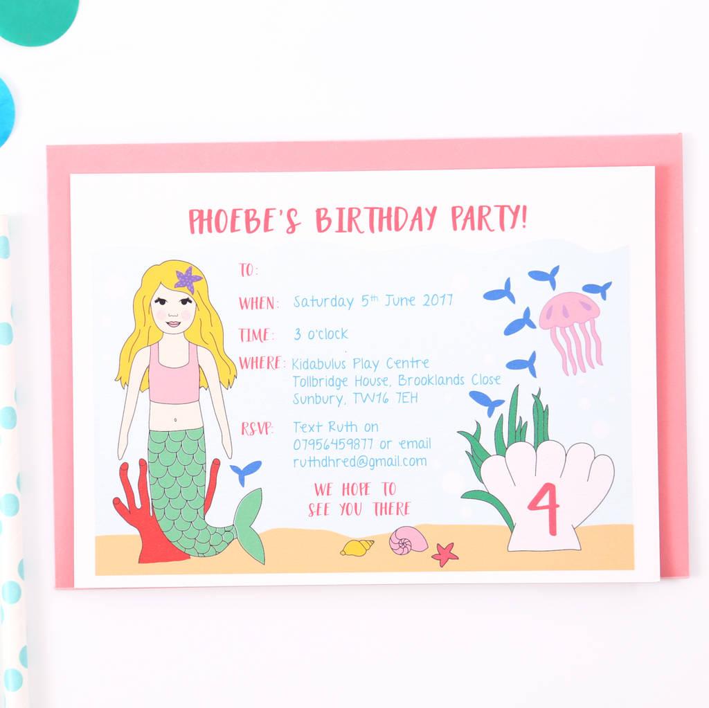 mermaid children party invitations by superfumi