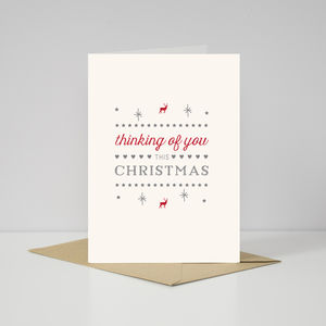 Contemporary Scandi 'Thinking Of You' At Christmas Card