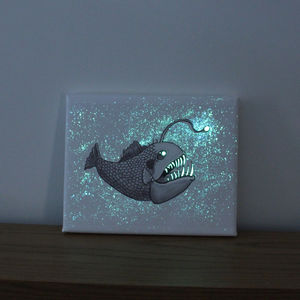 Angler Fish Glow In The Dark Canvas
