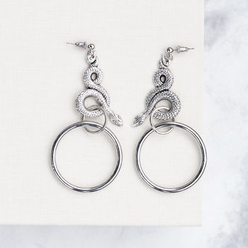 Statement Snake Wrap Ring Silver Earrings