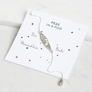 Personalised Peas In A Pod Bracelet In Sterling Silver