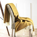 Gold Ochre Herringbone Wool Throw