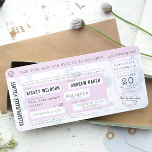 Vintage Style Boarding Pass Wedding Invitation