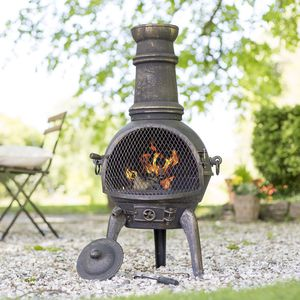 Cast Iron Chimenea With Grill - new in garden