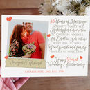Personalised 35th Wedding Anniversary Photo Card