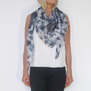 Thai Dye Inspired Scarf With Crosses - scarves