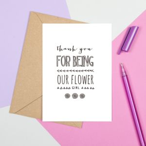 'Thank You For Being Our Flower Girl' Card - flower girl cards