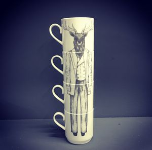 Dapper Stag Bone China Stacking Mug Set - kitchen