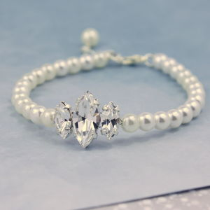 Triple Marquise Diamante And Pearl Bracelet - bracelets & bangles