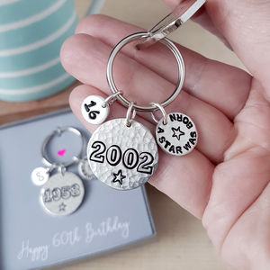 Personalised Birthday Year Keyring - womens