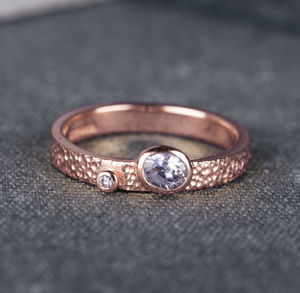 Asymmetrical Oval Diamond Rose Gold Engagement Ring