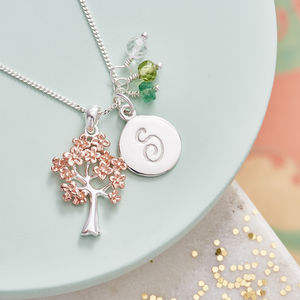 Family Tree Necklace In Rose Gold With Birthstones - gifts for mothers