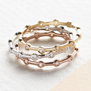 Precious Metal And Cubic Zirconia Stacking Ring Set