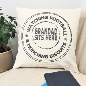 Personalised Grandad Stamp Cushion - 80th birthday gifts