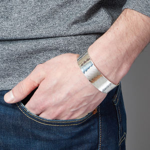 Wide Silver Cuff Bracelet For Men - jewellery sale