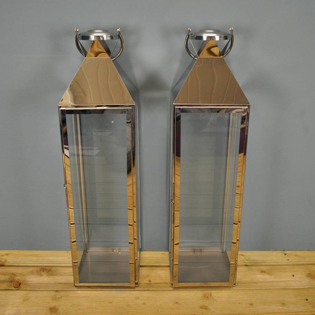 Two Knightsbridge Silver Candle Lanterns 77cm By Garden