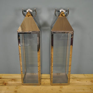 Two Knightsbridge Silver Candle Lanterns 77cm - lights & lanterns