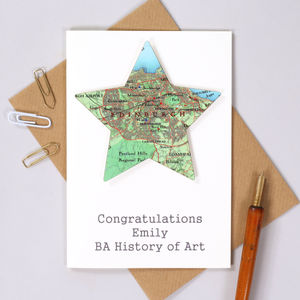 Personalised Graduation Congratulations Map Star Card