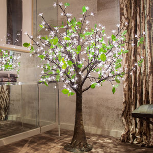 Small Illuminated LED Tree Mid White With Leaves - lights & lanterns