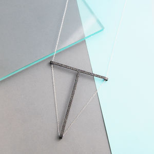 Black And Silver Geometric T Bar Necklace