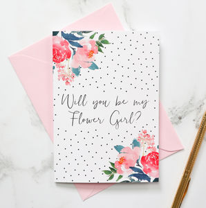 Will You Be My Flower Girl? Polka Dot Card - be my bridesmaid?
