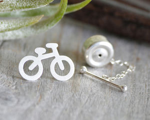 Bicycle Tie Tack In Sterling Silver
