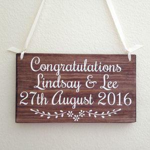 Personalised Name And Date Handmade Wooden Wedding Sign - outdoor decorations