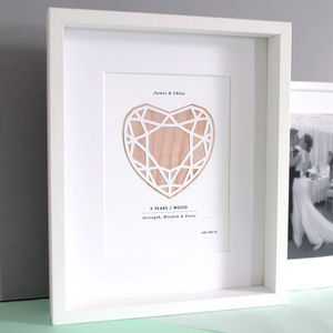 Wood Five Years Anniversary Personalised Papercut Print