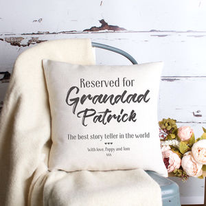 Reserved For Grandad Personalised Cushion Cover - gifts for grandparents