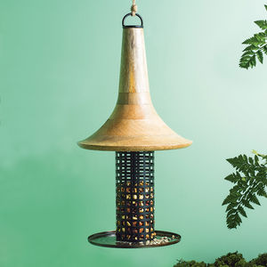 Barford Mango Wood And Copper Bird Feeder - birds & wildlife