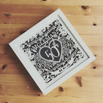 Paper Cut Wedding Anniversary Gift Custom Framed Print