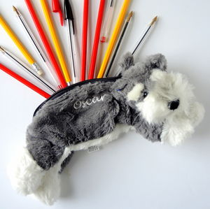 Personalised Schnauzer Kids Doggy Pencil Case - writing
