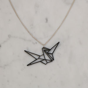 Origami Geometric Japanese Crane Good Luck Necklace