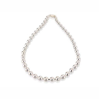 Graduated Silver Ball Necklace