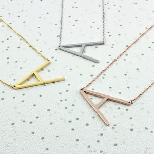 Oversized Initial Necklace In Silver, Gold Or Rose Gold