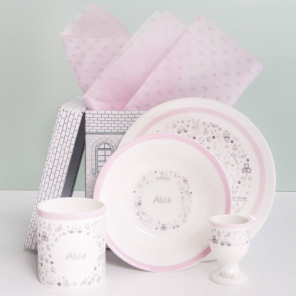 Little Love Personalised Breakfast Set Pink & little love personalised breakfast set pink by babyblooms ...