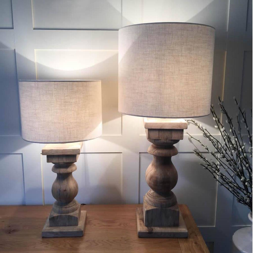 Large Natural Wood Table Lamp Natural Drum Woven Shade By